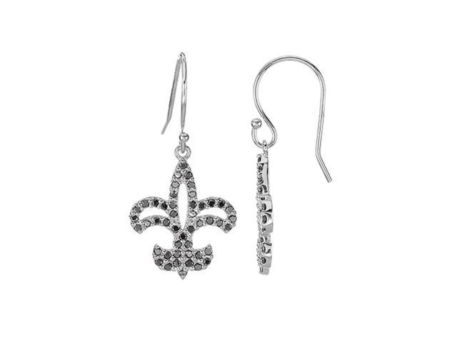 1 2 Ct Tw Black Diamond Fleur De Lis Earrings In 14k White