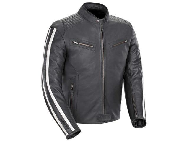 ef0e6de0386e Joe Rocket Vintage Mens Leather Motorcycle Jacket Black White XL ...