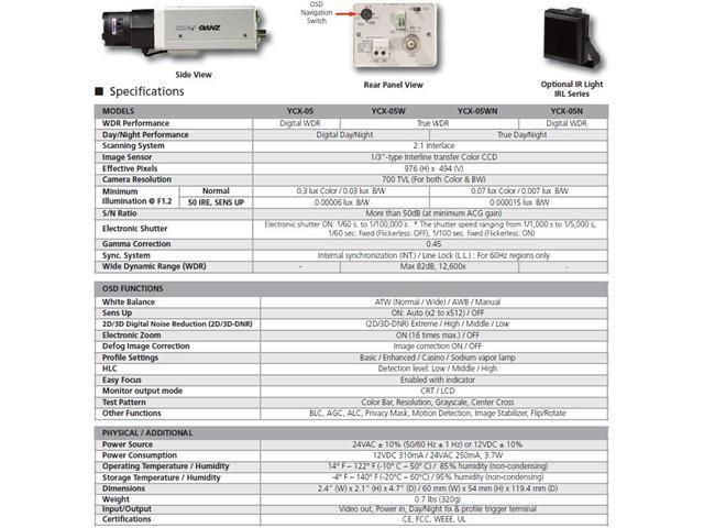 Computar Ganz High Quality CCTV Box Camera YCX-05N 700 TVL Digital WDR,  True Day/Night CS?Mount Camera - Newegg com