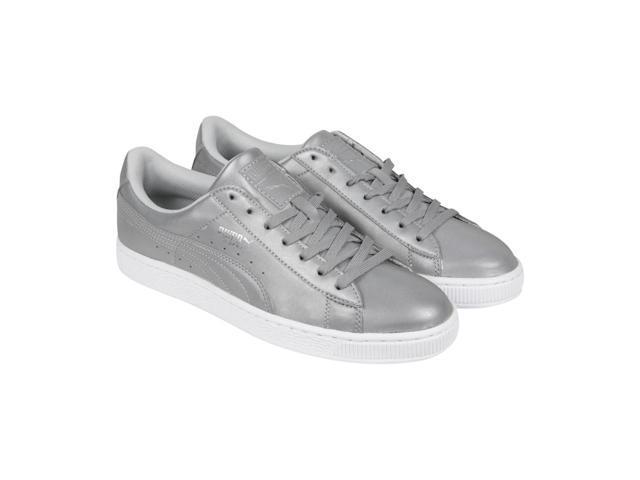the latest fd55a 7b478 Puma Basket Reflective Silver Metallic Black Mens Lace Up Sneakers -  Newegg.com
