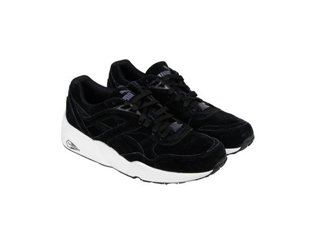 new styles 3d001 a9bdc Puma R698 Allover Suede Black White Black Mens Lace Up Sneakers - Newegg.com