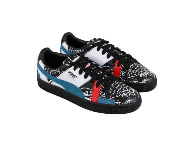 Puma X Shantell Martin Basket Graphic Black Dragonfly Mens Low Top Sneakers