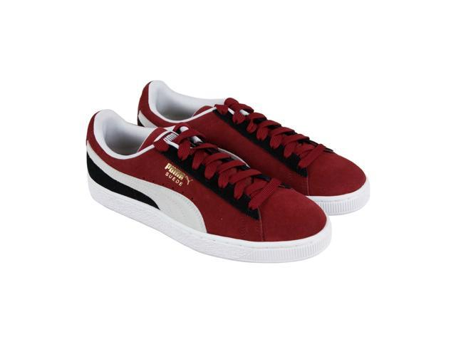 56a11ea3c3f2 Puma Suede Classic Pomegranate White Black Mens Lace Up Sneakers