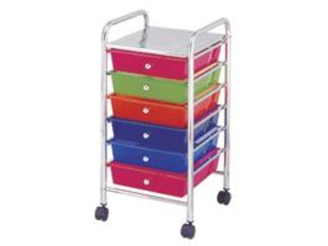 Homebasix G006-CH 6-Drawer Storage Cart Chrome 6-Drawer