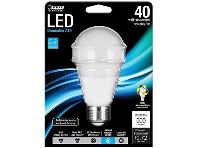 40W Equivalent A19 5000K Dimmable Led Feit Electric Light Bulbs  BPOM40/850/LED - Newegg com