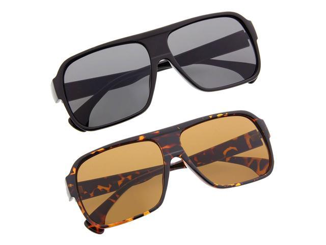 dfcdfb77002 Men s Plastic Square Frame Aviator Sunglasses Sunnies Bold Thick Casual 2  Pack
