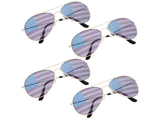 8e91027c04a USA American Flag Aviator Sunglasses Patriot Shades States Independence 4  Pack