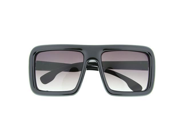 3d6c4b1b244 Oversized Thick Frame Square Sunglasses Block Nerd Geek Trendy Glossy Black