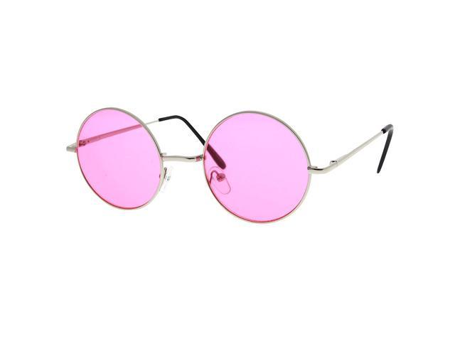 66820fa7b10a Round Circle John Lennon Inspired Color Lens Sunglasses Tea Shades Glasses  Pink