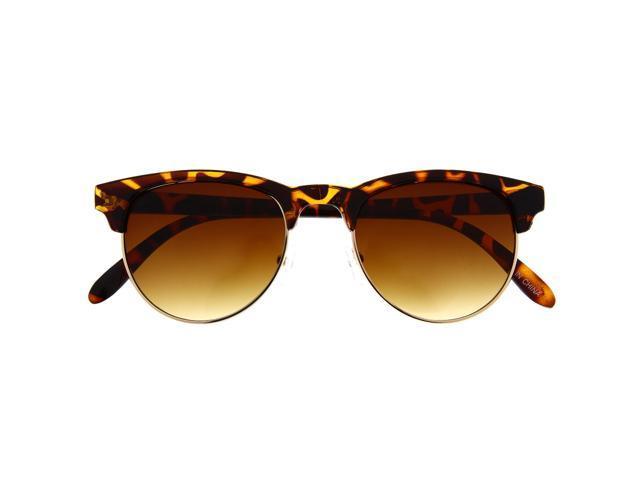 Vintage Retro Inspired Sunglasses Half Frame Round Bottom Tortoise ...