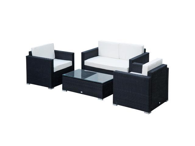 Astonishing Outsunny Modern 4 Piece Cushioned Outdoor Rattan Wicker Sofa Sectional Patio Conversation Furniture Set Lamtechconsult Wood Chair Design Ideas Lamtechconsultcom