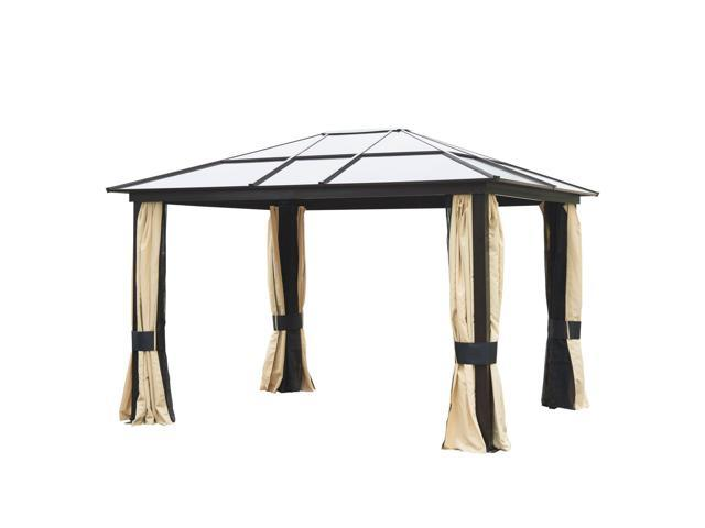 Superbe Outsunny 12u0027 X 10u0027 Outdoor Patio Canopy Party Gazebo W/ Mesh And Curtains