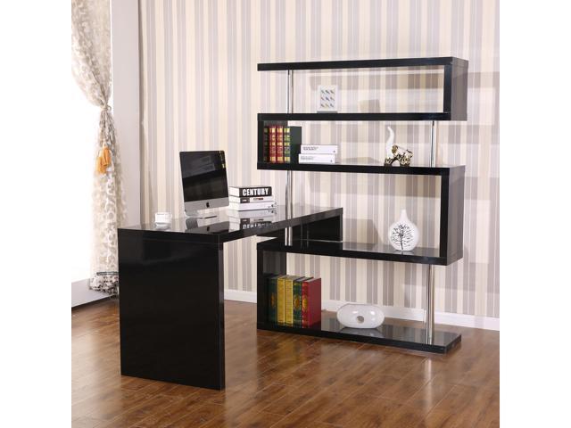 HOMCOM Rotating Home Office Corner Desk And Storage Shelf Combo   Black