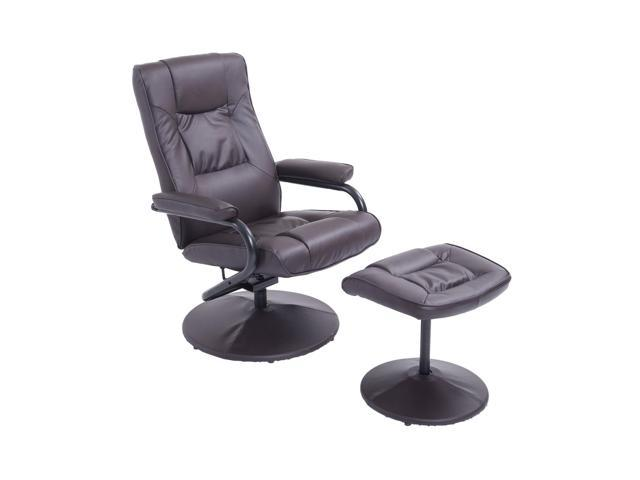 Awesome Homcom Ergonomic Pu Leather Lounge Armchair Recliner And Ottoman Set Dark Brown Newegg Com Dailytribune Chair Design For Home Dailytribuneorg