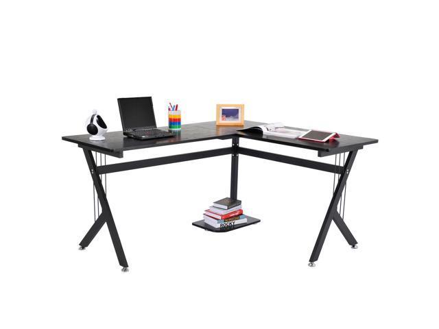 Homcom 61 L Shaped Corner Office Workstation Computer Desk With Steel Frame Black