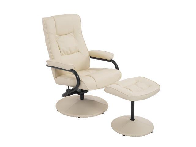 Swell Homcom Ergonomic Faux Leather Lounge Armchair Recliner And Ottoman Set Cream White Newegg Com Dailytribune Chair Design For Home Dailytribuneorg