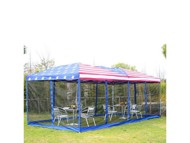 Outsunny 10\' x 20\' Easy Pop Up Canopy Party Tent with 4 Removable ...