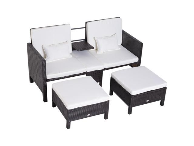 Cool Outsunny 3 Piece Loveseat And Nested Ottoman Outdoor Gmtry Best Dining Table And Chair Ideas Images Gmtryco