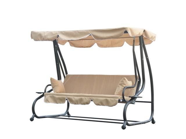 Outsunny 3 Seat Outdoor Free Standing Covered Swing