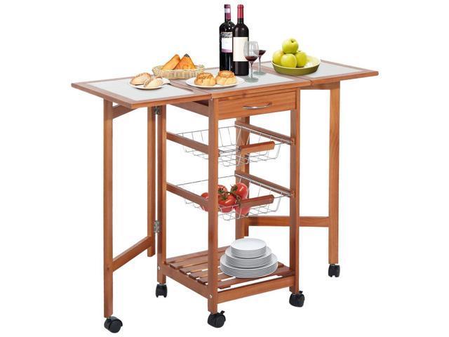 HOMCOM Portable Rolling Tile Top Drop-Leaf Kitchen Trolley Cart - Newegg.com