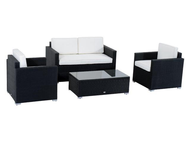Astounding Outsunny Modern 4 Piece Cushioned Outdoor Rattan Wicker Sofa Sectional Patio Conversation Furniture Set Lamtechconsult Wood Chair Design Ideas Lamtechconsultcom
