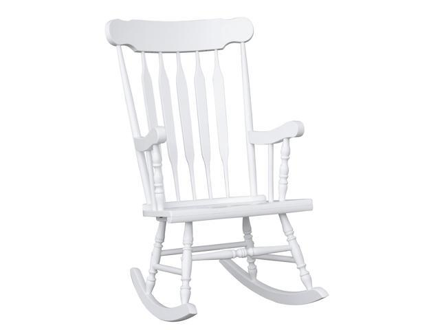 Wondrous Homcom Traditional Slat Wood Rocking Chair Indoor Porch Furniture For Patio Living Room White Creativecarmelina Interior Chair Design Creativecarmelinacom