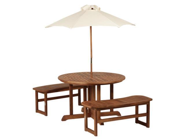 Groovy Outsunny Outsunny 4 Piece Kids Outdoor Patio Table And Bench Set Acacia Wood With Umbrella Newegg Com Creativecarmelina Interior Chair Design Creativecarmelinacom