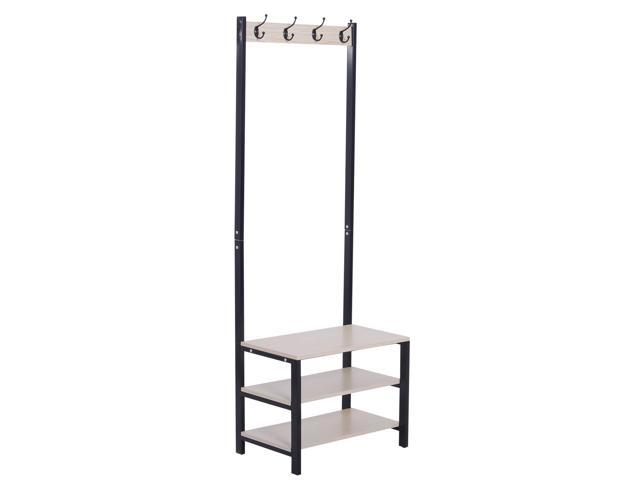 Stupendous Homcom Entryway 3 Tier Hall Tree Stand Coat Rack Shoe Bench Storage Black Ibusinesslaw Wood Chair Design Ideas Ibusinesslaworg