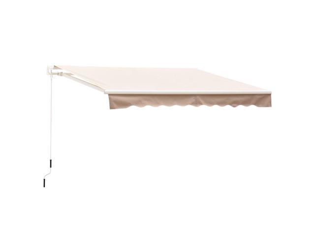 best cheap d7072 ac326 Outsunny 8' x 7' Manual Retractable Sun Shade Patio Awning - Cream Beige -  Newegg.com