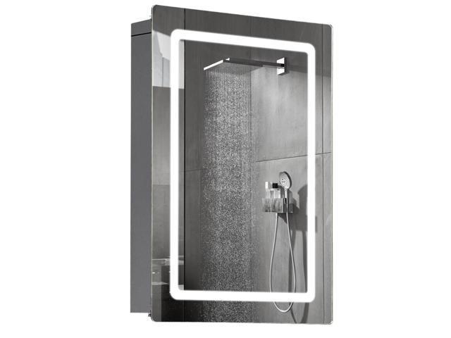 Homcom 30 Led Illuminated Wall Mirror Medicine Cabinet Bathroom Sliding Door Vertical Stainess Steel Newegg