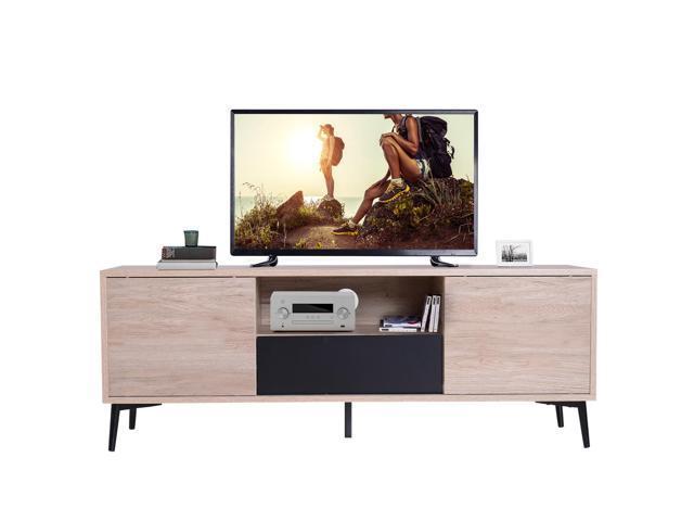 "the latest d2ccf 8ffb9 HOMCOM 47"" Wood TV Stand Cabinet Mid Century Modern Media Center with  Storage - Oak - Newegg.com"