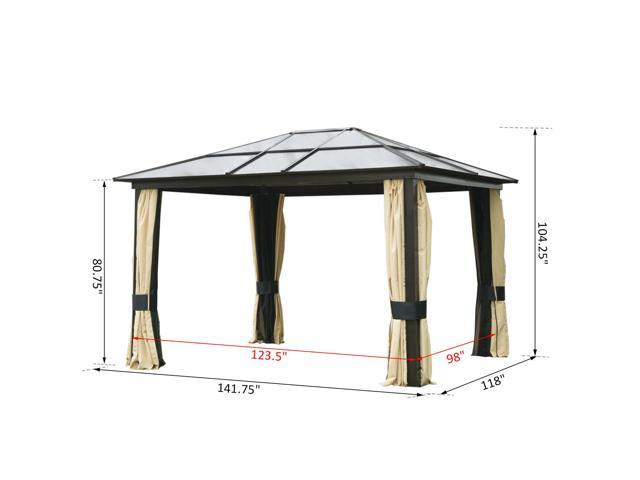 Outsunny 12 X 10 Outdoor Aluminum Polycarbonate Hardtop Canopy Gazebo With Curtains Tan Black Newegg Com