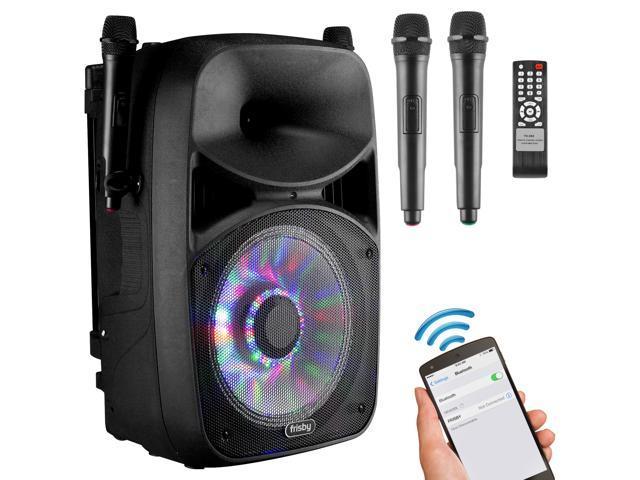 Frisby FS-4065PA Bluetooth Karaoke Machine PA System w/ 2x Wireless  Microphones SD/USB Player, FM Tuner & DJ LED Flashing Party Lights -  Newegg com