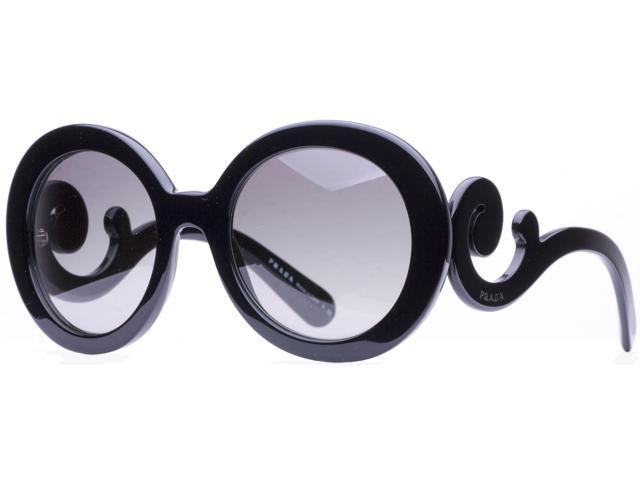5a4947a68099 Prada SPR 27N 1AB-3M1 Black Baroque Swirl Women's Round Sunglasses