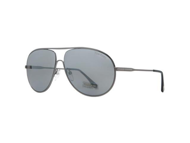 fb7cf5f8fd0d7 Tom Ford Cliff TF 450 14C Shiny Ruthenium Gray Smoke Mirror Aviator  Sunglasses