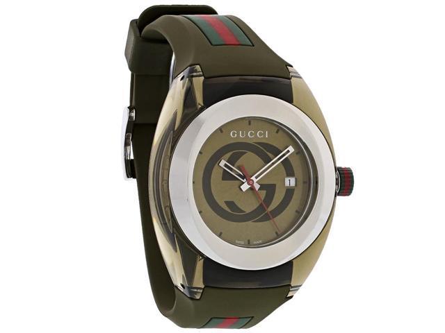 Gucci Sync XXL Khaki Red Green Rubber Strap Swiss Quartz Watch YA137106