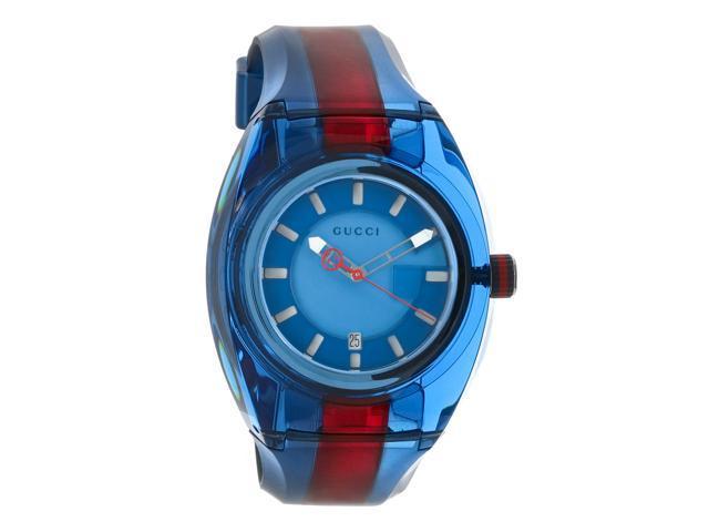 Gucci Sync XXL Blue & Red Rubber Strap Swiss Quartz Watch YA137112