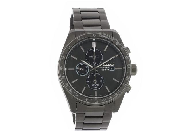 Seiko Solar Chronograph Black Ion Plated Stainless Steel Watch Ssc721 Newegg Com