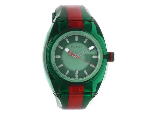 Gucci 137 Sync XXL Mens Green & Red Rubber Strap Swiss Quartz Watch YA137113