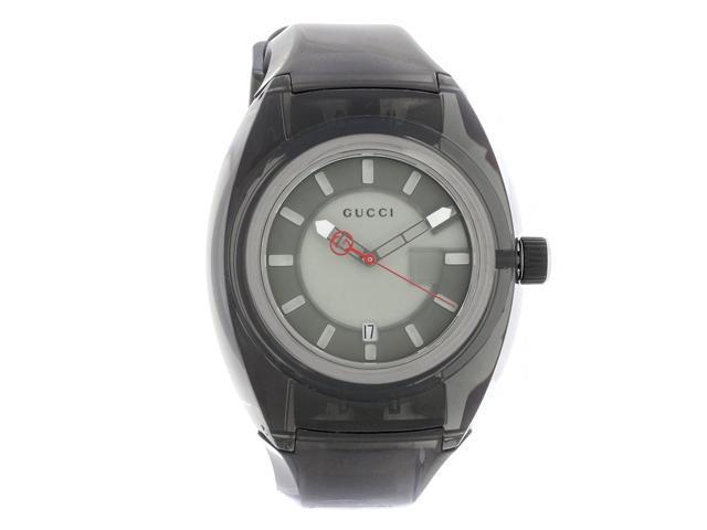 Gucci Sync Unisex Black Transparent Rubber Strap Quartz Watch YA137111