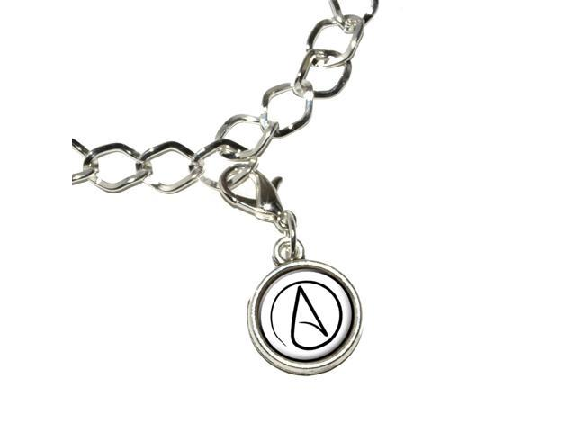 Atheism Atheist Symbol Silver Plated Bracelet With Antiqued Charm