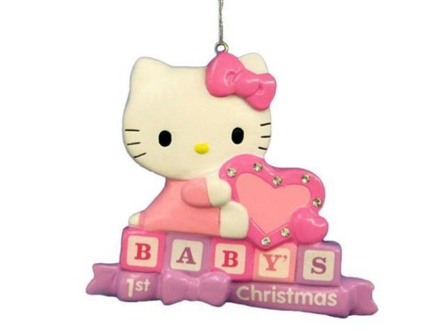 Baby S First Hello Kitty Christmas Tree Ornament Personalizable Holiday Cat Newegg Com