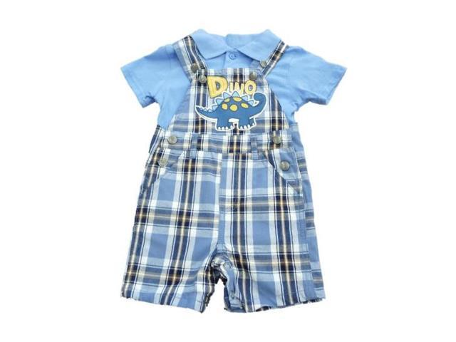 6d1fa0a5c4d5 Little Rebels Infant Boys Blue Plaid Dino Overall Shorts   Polo Shirt Set  24m