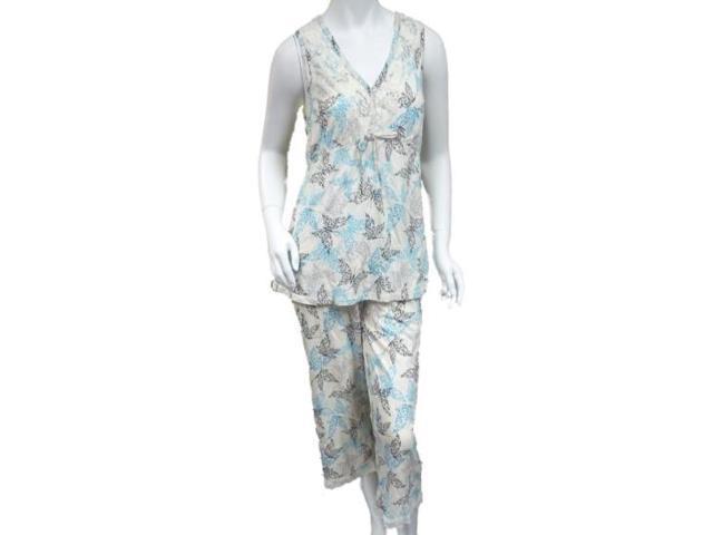 5fdbcf103f Covington Women Ivory Butterfly Print Capri Pajamas T-Shirt Feel Sleeveless  1X