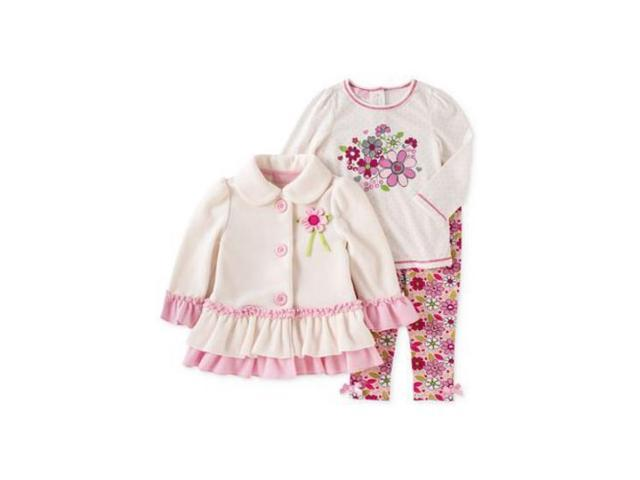 73868ff6755c49 Kids Headquarters Infant Girl Set Flower Shirt Leggings Fleece Jacket 18m