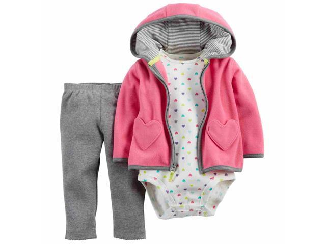 91f007fc9 Carters Infant Girl 3 Piece Pink Heart Outfit Creeper Leggings Hoodie Jacket  3m
