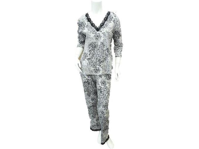 Covington Womens Black   Purple Leopard Print Pajamas Lightweight Pajama  Set XL 7dc254d99