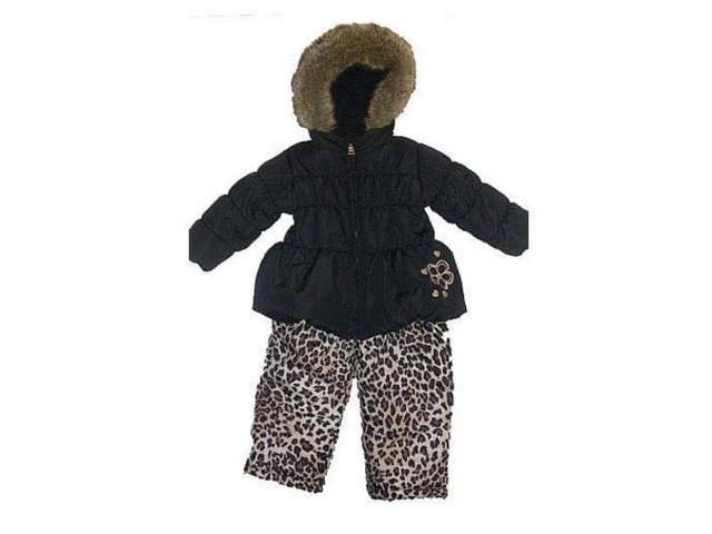 72ba20b85f86 Pacific Trail Infant Girls Black Leopard Snowsuit Ski Bibs Coat Set ...