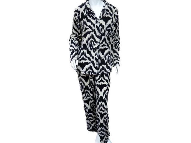 Covington Womens Black   White Zebra Print Pajamas Fleece Pajama Set ... 622329430
