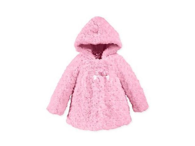 3090eca6e London Fog Infant Girls Pink Rosette Faux Fur Jacket Lightweight Coat 6-9m